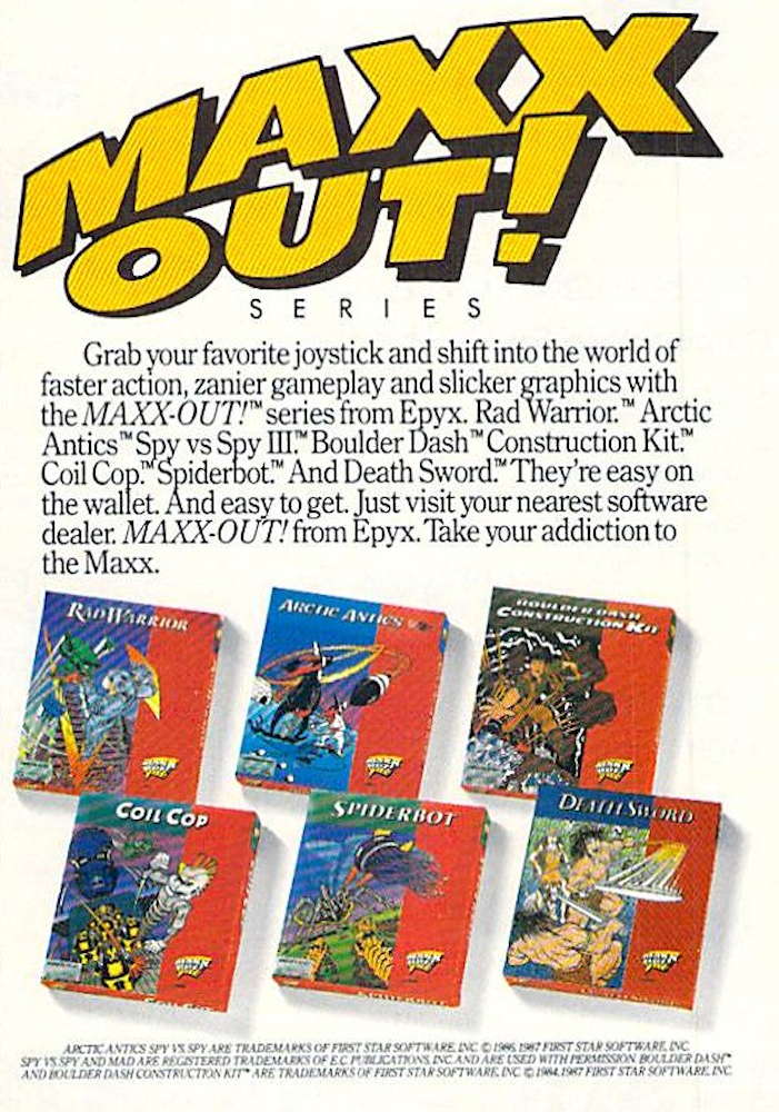 Boulder Dash Construction Kit cover image USA Disk Advert Epyx Maxx Out series