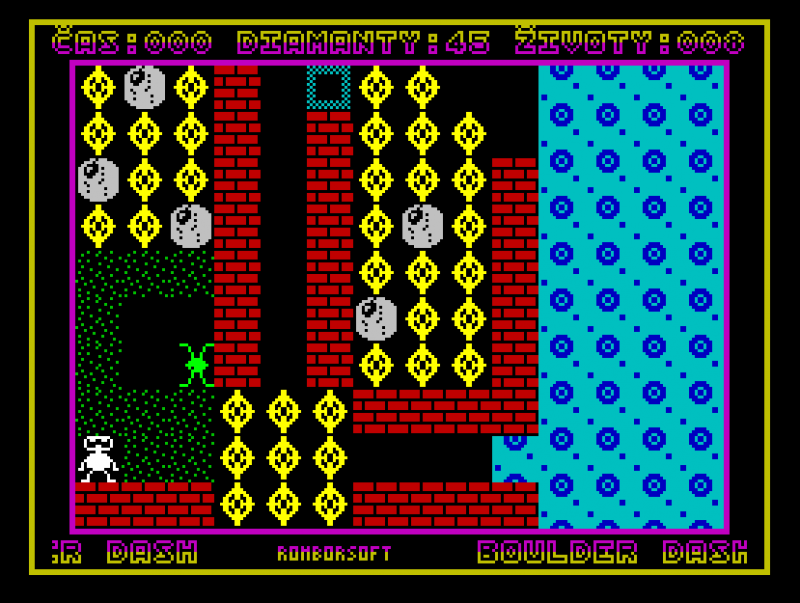 Figure 4. The PMD 85 version of Boulder Dash converted back to the ZX Spectrum.